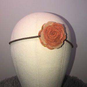 Fall Felt Flower Headband Burnt Orange and Brown